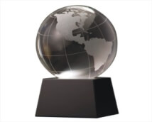 Engraved Crystal Globe on Black Base