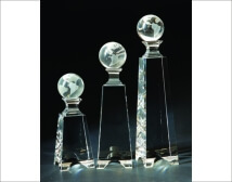 Engraved Crystal Globe on Tapered Towers