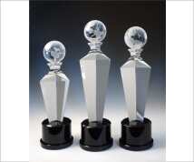 Engraved Crystal Globe On Tapered Tower with Black Base