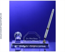 Engraved Crystal Globe Pen and Business Card Holder Set-Gloria