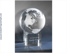 Engraved Massive Crystal Globe Earth on Pedestal