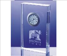 Engraved Crystal Rectangle Block Clock-Ella