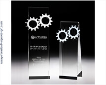 Engraved Crystal Rectangle Award with Chrome Gears