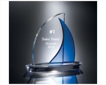Engraved Crystal Sailboat with Blue Sail
