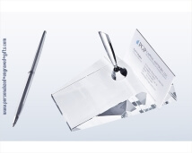 Engraved Crystal Slanted Card Holder and Pen Set