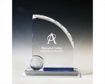 Etched Crystal Globe Award with Blue Crystal Accent