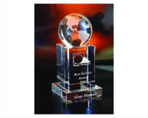 Engraved Crystal World on Square Pedestal Award