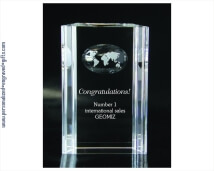 Engraved Grooved World Crystal Award