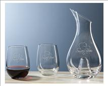 Classic Engraved Wine Decanter Gift Set 2 – Stemless Glasses