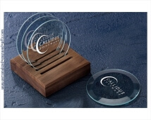 Personalized Glass Coaster Set with Wooden Stand