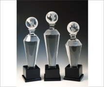 Engraved Globe Award Tapered column on Square Black Base