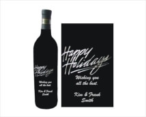 Personalized Engraved Wine Bottles - Holiday Design 3