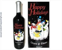 Engraved Holiday Wine Bottles with Deep Etched Singing Snowmen