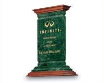 Engraved Green Marble Majestic Award with Wood Trim