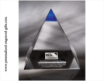 Engraved Majestic Crystal Pyramid with Blue Summit