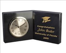 Engraved Open Book Marble Clocks - Engraved with your Text