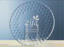 Engraved Glass Presentation Plates with Star Border