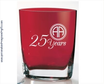 Stunning Red Pocket Glass Vase Deep Engraved Ruby
