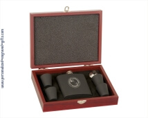 Engraved Rosewood Gift Box with Black Matte Flask Gift Set