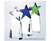 Engraved Brilliant Colored Optic Crystal Star Awards