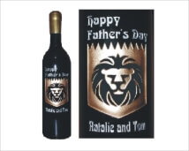 Engraved Wine Bottles - Lion Design