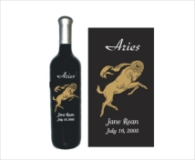 Personalized Aries Birthday Wine Bottle