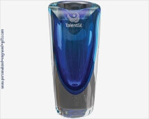 Engraved Sapphire 9inch Glass Vase
