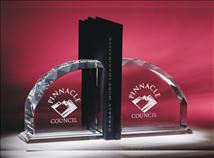 Engraved Starphire Faceted Crystal Bookends 5 x 5inch