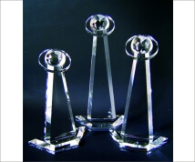 Engraved Crystal Globe Tower with Orbital Ring