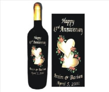 Engraved Wine Bottles Hearts with Flowers