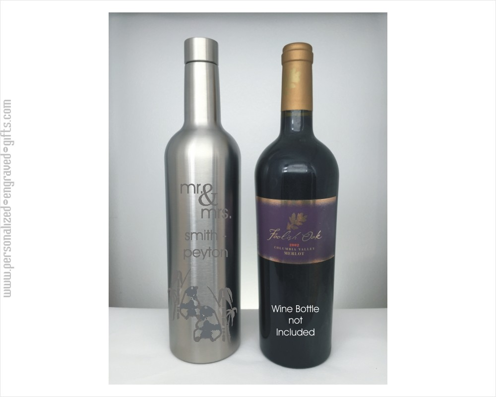 Wine Bottle Shaped Stainless Steel Flask Laser Engraved