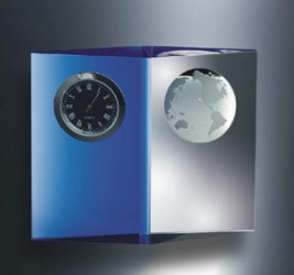 Engraved Crystal and Blue Planet Clock 4inches H