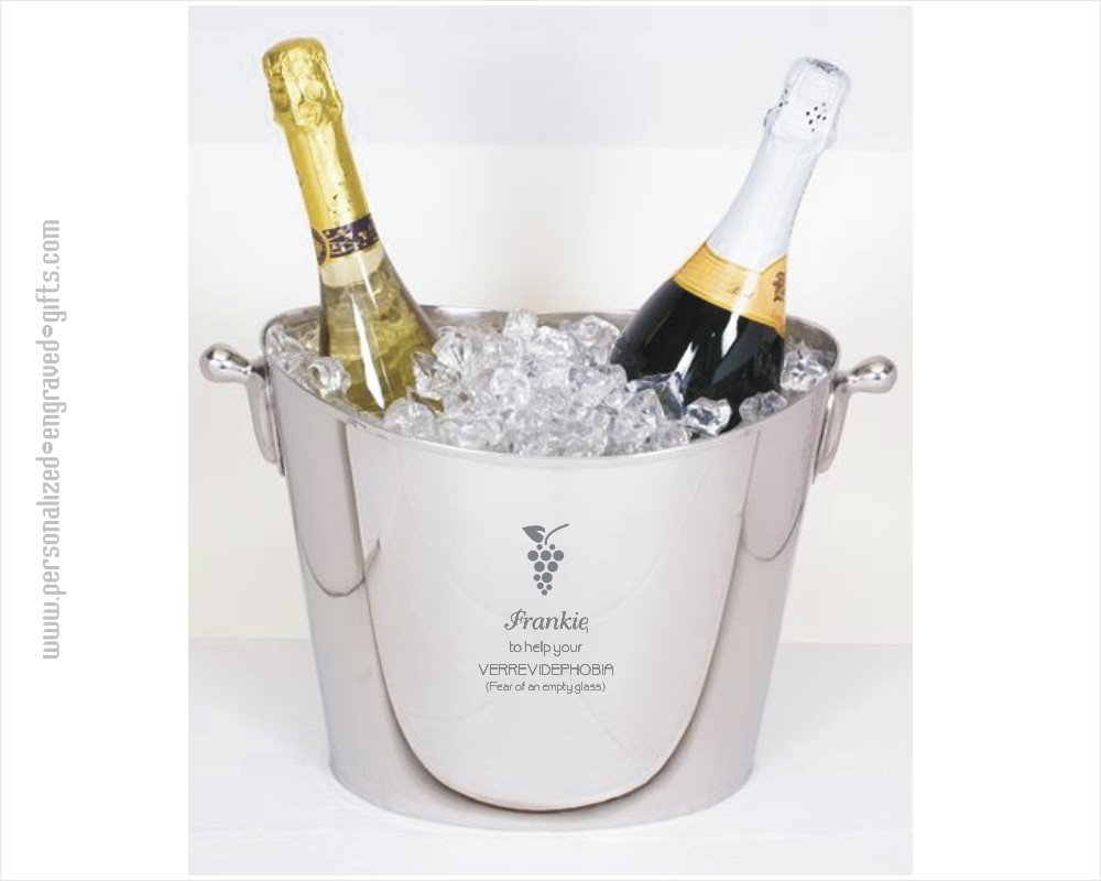 Oval Stainless Steel Champagne Cooler Custom Engraved ~ Larchmont
