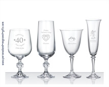 Engraved European Crystal Wine Glasses & Flutes - Set of Two