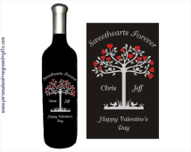 Tree with Hearts Design deep engraved into the Wine Bottle, with your Romantic Words.