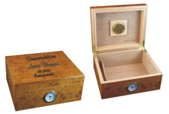Engraved Maple Burl Humidor