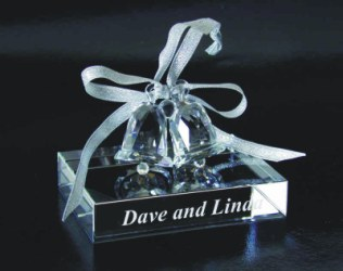 Personalized Crystal Wedding Bell Set