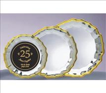Engraved Silver Plated Tray with Gold Wave Border