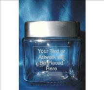 Engraved Glass (4.5inch) Square Jar