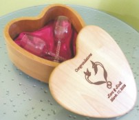 Laser Engraved Wooden Heart Shaped Gift Box with Wine Glasses