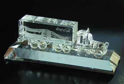 Engraved Crystal Semi Truck On Base