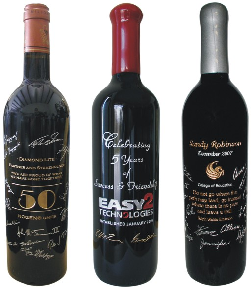 Sample of Engraved Wine Bottles with Signatures