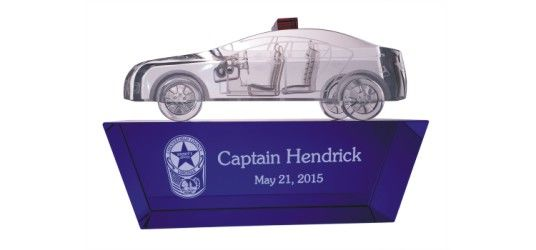 Engraved Crystal Police Car from Side View
