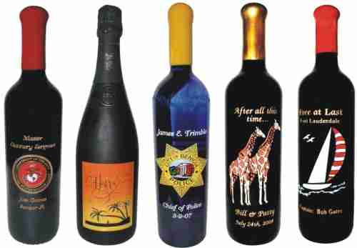 Engraved Wine Bottles Client Samples