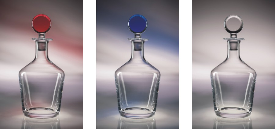 Engraved Decanters with Colored Stoppers