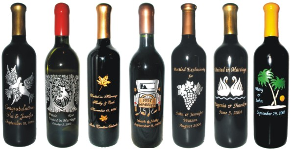 Engraved Wedding and Anniversary Wine Bottles